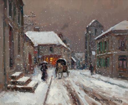 a snowy rural street scene by edouard léon cortès