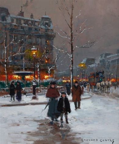 winter parisienne street scene in winter by edouard léon cortès