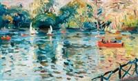 impressionistic lake scene by max agostini