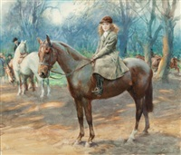 the morning ride (ina, youngest daughter of hon. stanhope tollemache, on her pony) by lucy elizabeth kemp-welch