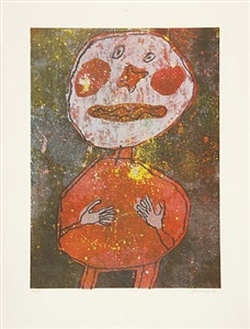personnage au costume rouge (person mit rotem kostüm) by jean dubuffet