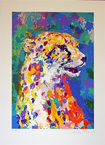 portrait of a cheetah by leroy neiman