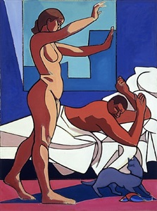 two nudes with cat, morning by leland bell
