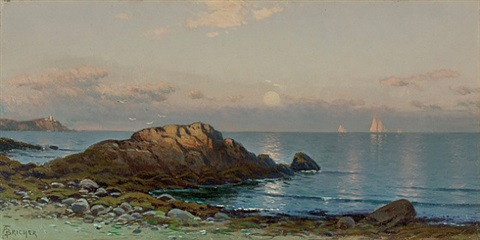 moonlight seascape by alfred thompson bricher