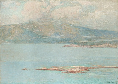 looking over green mountain by childe hassam