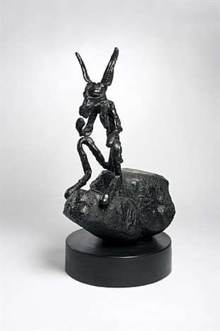 thinker on rock, medium by barry flanagan
