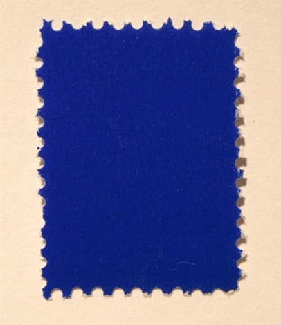 untitled ikb pigment on postal stamp by yves klein