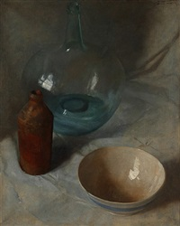 still life with two bottles & bowl by newell convers wyeth
