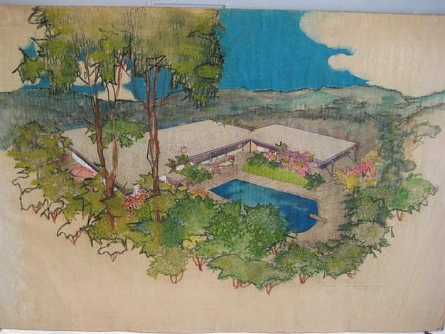 aerial perspective rendering, hammerman residence, bel air, california by richard neutra