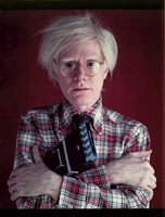 andy warhol with polaroid camera, 1980 by bill ray