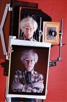 andy warhol with polaroid print, ny, 1980 by bill ray
