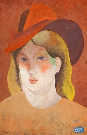 woman with hat by béla kádár