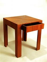 table basse en marqueterie de paille rousse, à un tiroir en ceinture by jean-michel frank
