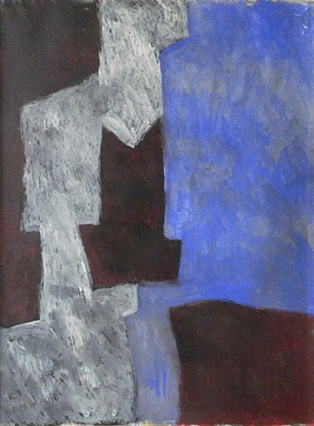 composition abstraite (bleu, lie-de-vin et blanc) by serge poliakoff