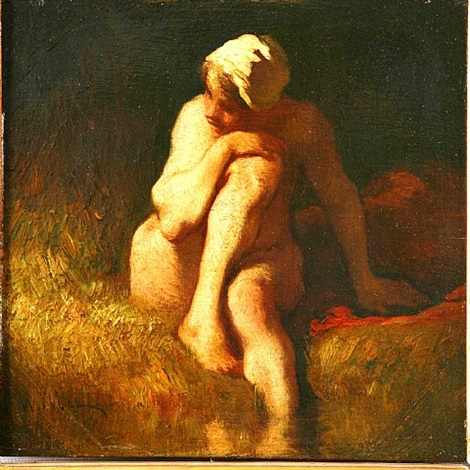 naked peasant girl at the river by jean françois millet