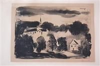 théméricourt, le clocher dans les arbres by maurice de vlaminck