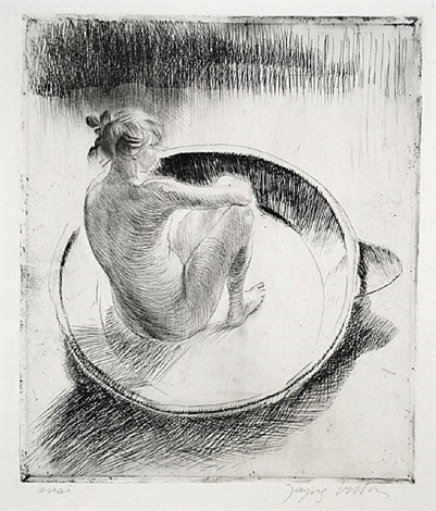 fillette assise dans un tub by jacques villon