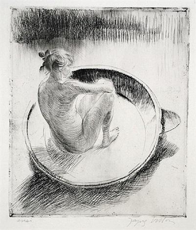 fillette assise dans un tub by jacques villon