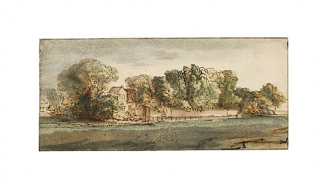 landhaus mit park und mauer by rembrandt van rijn