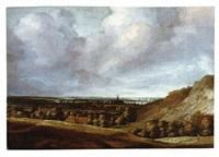 panoramalandschaft mit ortschaft im mittelgrund by philips koninck