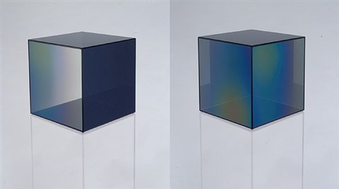 cube #9 (clear and dark grey) by larry bell