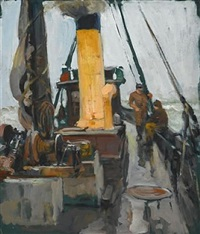 fishermen on deck by henry bayley snell