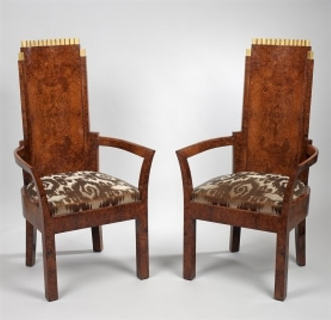 a pair of art deco amboyna and gilt armchairs by josef hoffmann