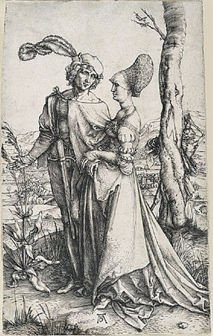 young couple threatened by death (the promenade) by albrecht dürer