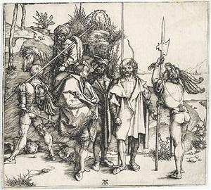 five lansquenets and an oriental on horseback by albrecht dürer
