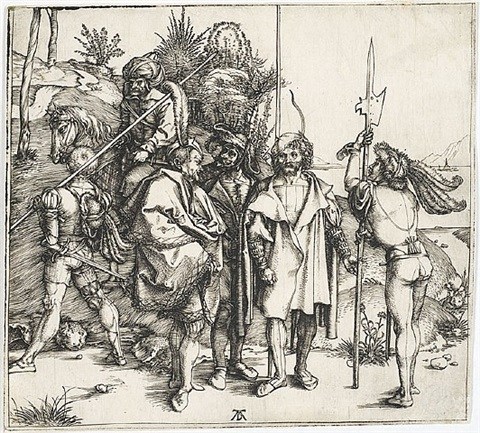 five lansquenets and an oriental on horseback by albrecht dürer