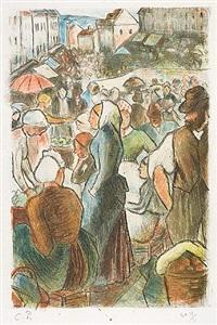 marché de gisors, rue cappeville (the market at gisors, rue cappeville)marché de gisors, rue cappeville (the market at gisors, rue cappeville) by camille pissarro