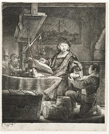 jan uytenbogaert, the gold- weigher by rembrandt van rijn