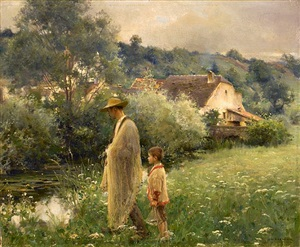 net fishing in the brook, bonnaud by jules alexis muenier