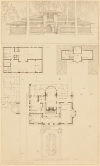 perspectives of the winslow house, river forest, illinois (2 works) by frank lloyd wright