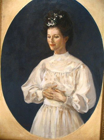 portrait of woman in white dress by augustus vincent tack
