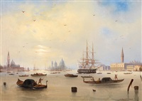 view of the bay of st. mark's, venice by carlo bossoli