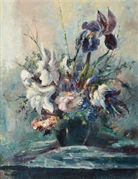 flowers in a vase by jose vives-atsara
