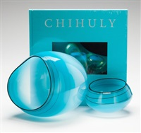 sky blue basket set with black lip wraps (2 works) by dale chihuly