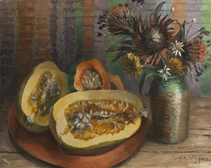 still life with melons & dry flowers by guy a. wiggins