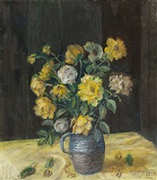still life of yellow roses by guy a. wiggins