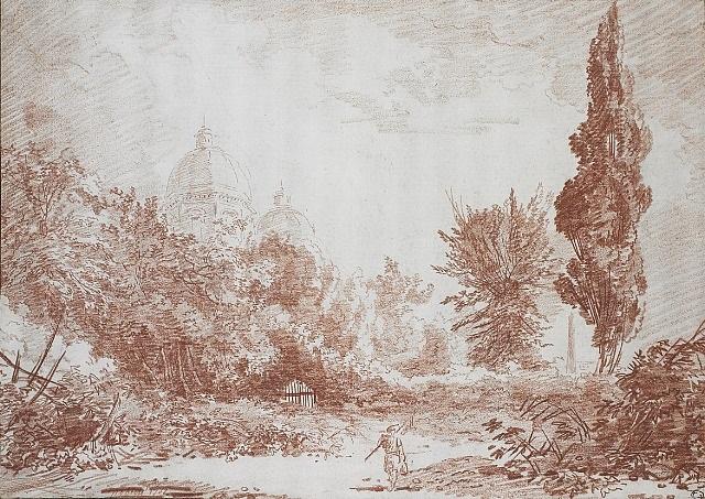 les jardins de la villa negroni derrière les coupoles de sainte marie majeure by hubert robert