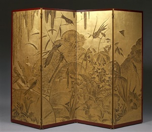 four panel folding screen by léon jallot
