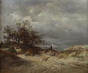 schafhirte in stürmischer landschaft by anton burger
