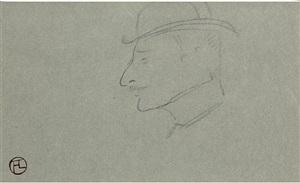 profil de tête d'homme avec chapeau by henri de toulouse-lautrec