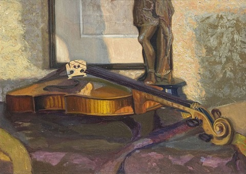 violin still life by frank r. humpal