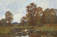 autumn landscape , bantam river by william merritt post