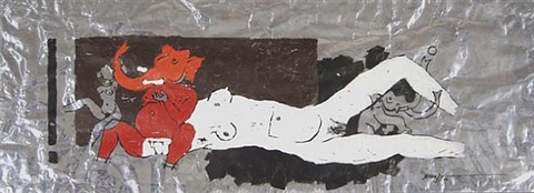 frolicking ganesh by maqbool fida husain