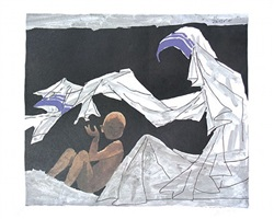 blanketing (mother teresa series) by maqbool fida husain