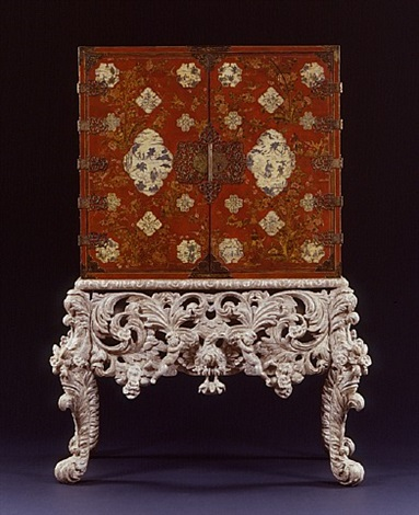 an extremely rare red and white lacquered cabinet on original silver gilt stand