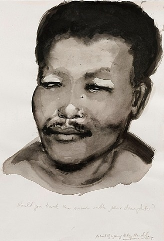 portrait of a young nelson mandela by marlene dumas